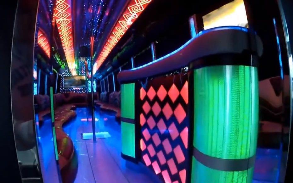 55 Passenger Party Bus Interior