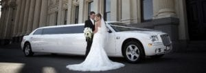 wedding limousine bride and groom